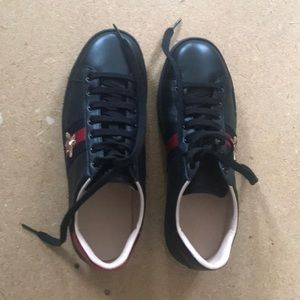 Gucci Ace Embroidered sneakers in black leather